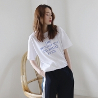 lettering round neck tee
