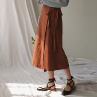 cotton brown wrap skirt