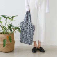 Stripe&check linen bag