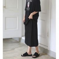 black zipper wrap skirt