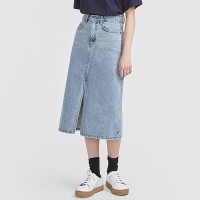 casual slit detail denim skirt_(697238)