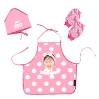 [키미티즈] 헬로우시리즈 - 포토 유아 방수앞치마(핑크) 3종세트