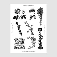 Book Sticker-Antique Flowers