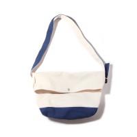 FLAP MESSENGER BAG-NATURAL/BLUE
