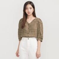 check puff V-neck blouse_(700351)