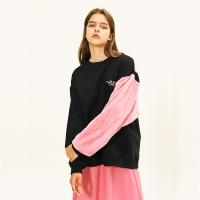 [AW17 Pink Panther] Faux Fur Sleeve Sweatshirts(Black)