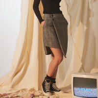 CHECK UNBALANCE WRAP SKIRT_(1688064)