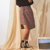 CHECK UNBALANCE WRAP SKIRT_(1688063)