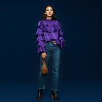 Ruffle Satin Blouse in Purple