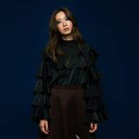 Ruffle Satin Blouse in Black