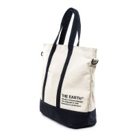 STENCIL CANVAS TOTE BAG - NAVY