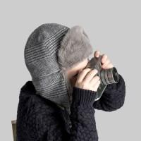 [CTH MINI] 알레스카 글렌체크 블루그레이 유아동 귀달이모자