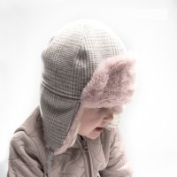 [CTH MINI] 알레스카 글렌체크 핑크 유아동 귀달이모자