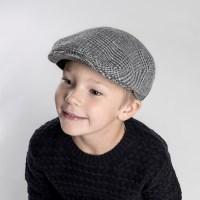 [CTH MINI] 필립 체크 블루그레이 유아동 헌팅캡
