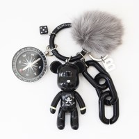 블랙 해골 (FOX FUR) keyring