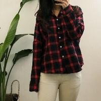 심플 체크 겉기모 셔츠 _레드