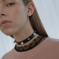 Pearl Cubic Leather Choker