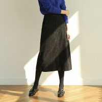 slim waist a-line midi skirt