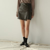 leather mini wrap skirt
