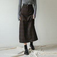 classy check banding skirt