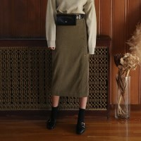 button wrap long skirt