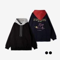 [UNISEX] 뮤콜렉션 빅캣 배색 오버핏 기모후드 (2컬러)