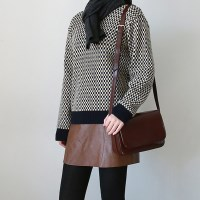 Cacao check pattern knit