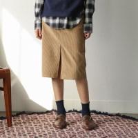 corduroy pocket banding skirt