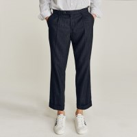 WIDE STRIPE TURNUP SLACKS (NAVY)
