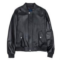 lambskin MA-1 leather rib jacket (MEN) (Black)_(731937)