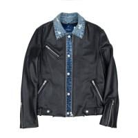 cowhide 2way layered jacket (MEN) (Black)_(731935)