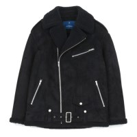 oversized suede mouton riders jacket (Black)_(731925)