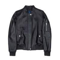lambskin MA-1 leather rib jacket (WOMAN) (Black)_(731916)