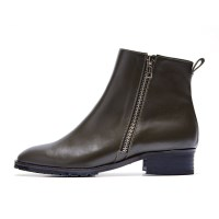 7121 Zipper ankle boots D.khaki
