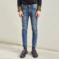 PARTIAL DAMAGE SLIM FIT WASHED JEAN