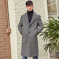 PIED CHECK WOOL SINGLE COAT (BLACK)