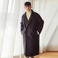 HEAVY WOOL BLAND OVERSIZE DOUBLE COAT (BLACK)