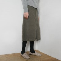 Corduroy slit long skirt
