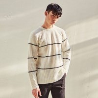 RAGLAN STRIPE LIP SWEATER (IVORY)