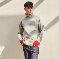 WOOL TURTLENECK PULLOVER SWEATER (GRAY)