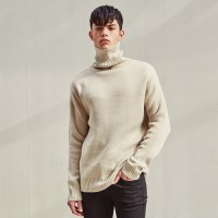 WARM WEAVE TURTLENECK SWEATER (LIGHT BEIGE)