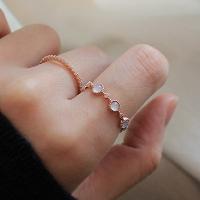 화이트 스톤 로즈 반지 white stone rose ring