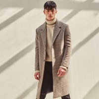 PIED CHECK WOOL SINGLE COAT (BEIGE)