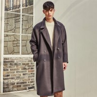 HEAVY WOOL BLAND OVERSIZE DOUBLE COAT (BROWN)