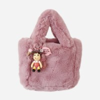 Artifical Fur Bag & 페코짱 charm (indipink)