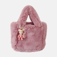 Artifical Fur Bag & 턱받이 charm (indipink)