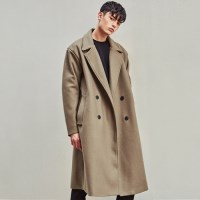 HEAVY WOOL BLAND OVERSIZE DOUBLE COAT (BEIGE)