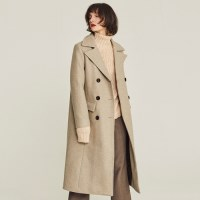 DOUBLE CHESTERFIELD WOOL COAT (BEIGE)