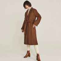LAUREN WOOL WRAP LONG COAT (BROWN)