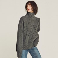 EMBROIDER WOOL TURTLENECK SWEATER (GRAY)